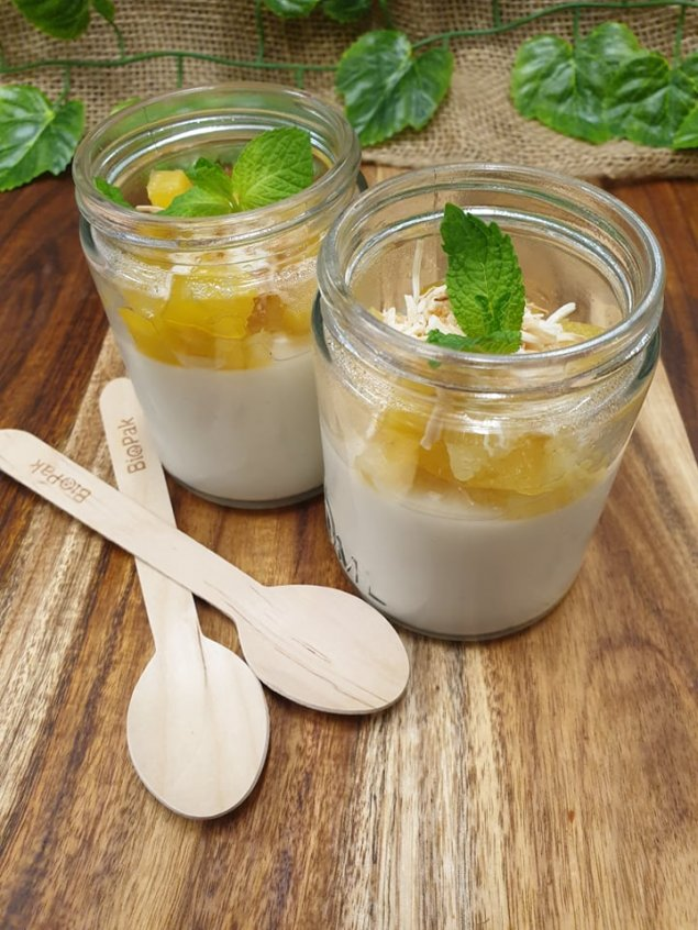 Coconut panna cotta with poached pineapple, toasted coconut in individual jars (v)(gf)(df)