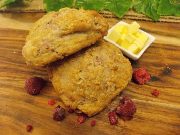 Raspberry & white chocolate scones with butter