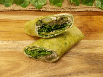 Spinach pesto tortilla with cream cheese & roast asparagus filling