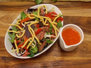 Beef Strips & Crispy Noodle salad with sambal oeleck dressing