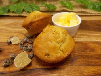 Ginger & date muffin with butter
