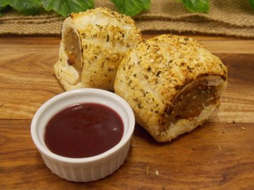 Pork, apricot and sage sausage roll with spiced plum sauce