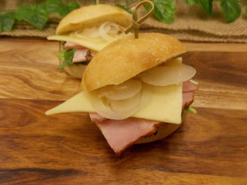 Mini ciabatta roll with smoked ham & dijonaisse filling