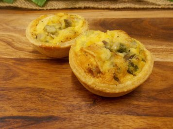 Bacon, roasted asparagus and brie mini quiche