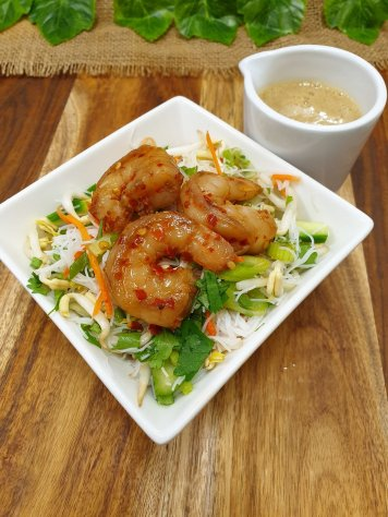 Chilli prawn and vermicelli salad with sesame lime dressing (gf)(df)