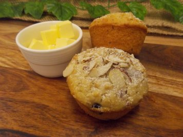 Cranberry almond oat muffin with butter