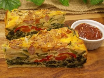 Spinach, courgette, kransky sausage, red pepper and parmesan frittata with relish