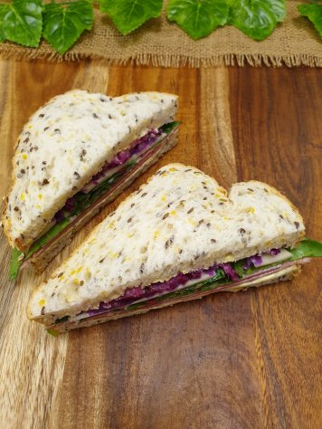 Ploughman Sandwich – Silverside, wholegrain mayo, mesclun, pickled red cabbage and swiss cheese