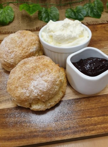 Citrus scones with jam and cream (v)