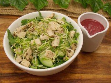 Garlic Herb Chicken Salad with blueberry vinaigrette